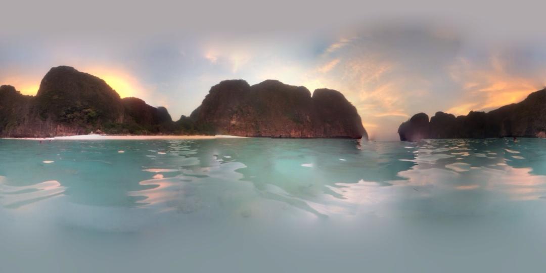 Maya bay sunset panorama