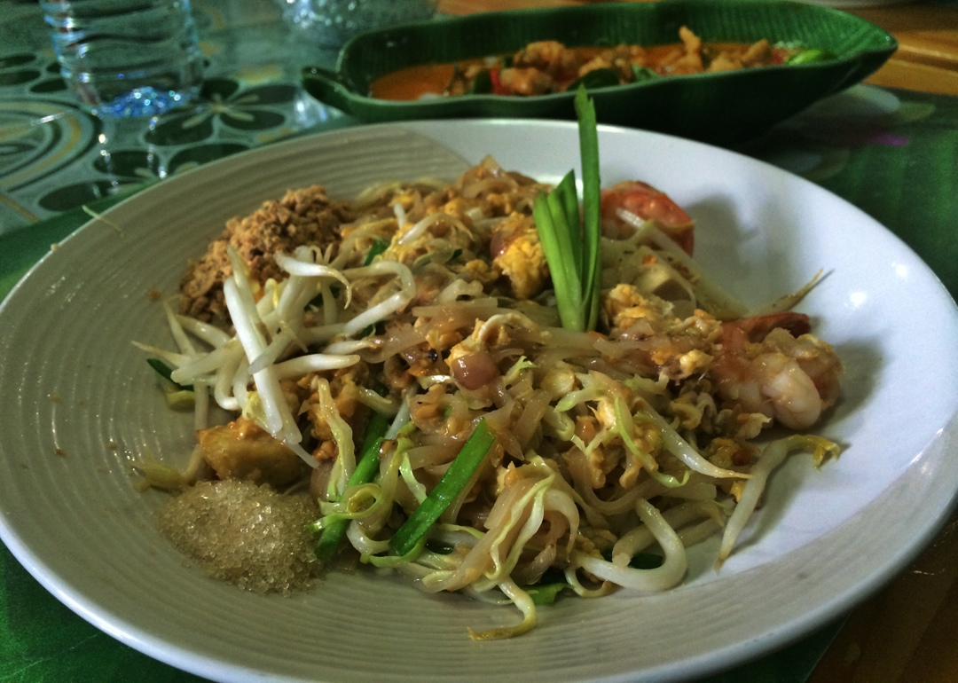 Cooking pad thai in chiang mai