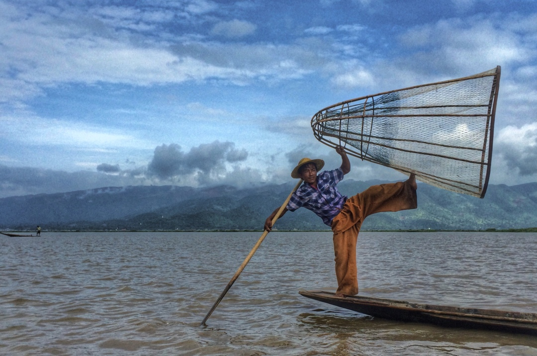 Fisherman showing off his skills at inle lake