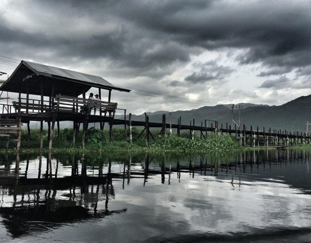 Wooden boardwalk in inle lake village