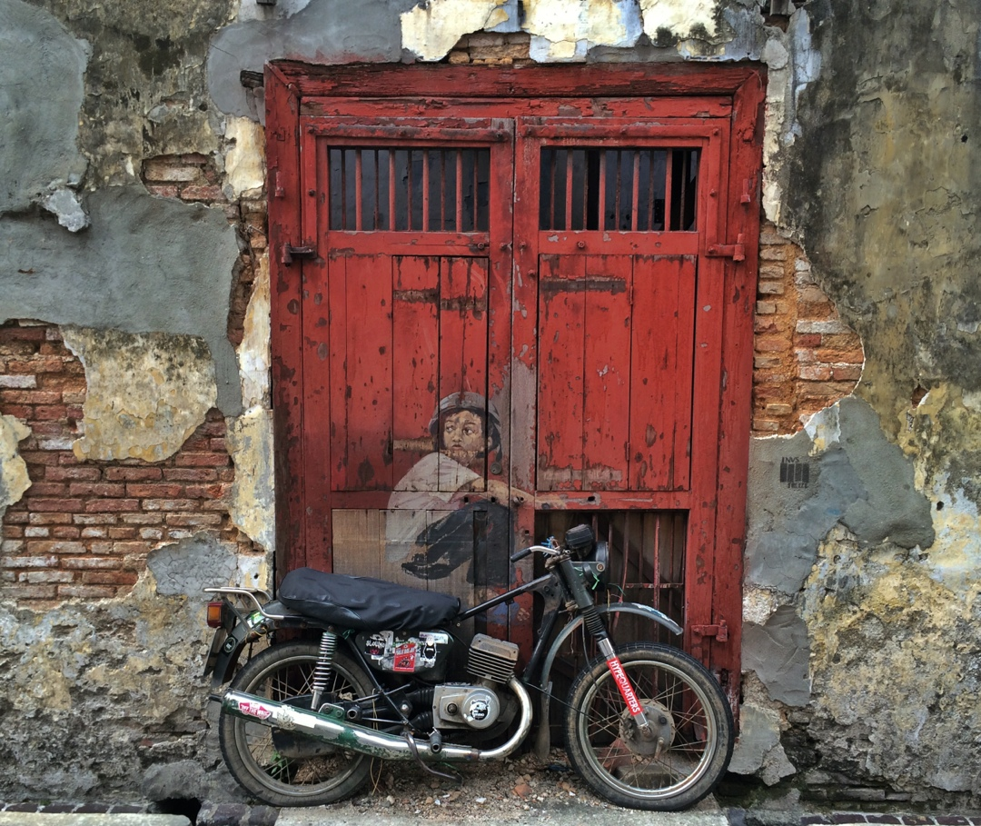Innovative street art with motorbike in Penang